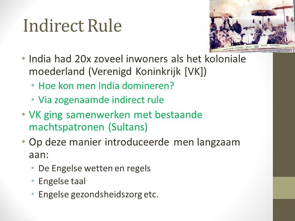 Indirect Rule India had 20x zoveel inwoners als het koloniale moederland (Verenigd Koninkrijk [VK])